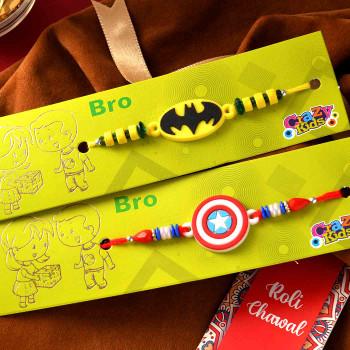Amazing Superhero Rakhi Set Of Two With Ferrero Rocher - For India