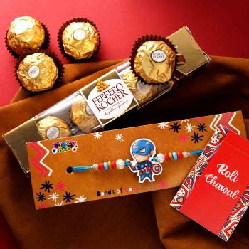 Cool Superhero Rakhi With Ferrero Rocher - For India