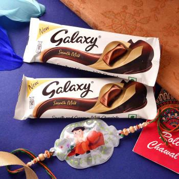 Light Kids Rakhi With Galaxy Chocolates - For India