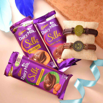 Super Man Mask Leather Band Rakhis With Dairy Milk - For India