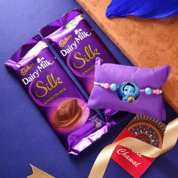 Cute Kids Krishna Rakhi With Dairy Milk Silk- For India