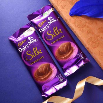 Blue Metallic Finish Rakhi With Silk - For India