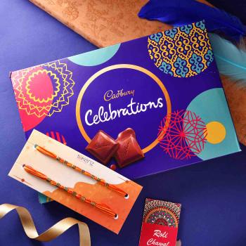 Set Of 2 Fancy Rakhis With Celebrations  - For India