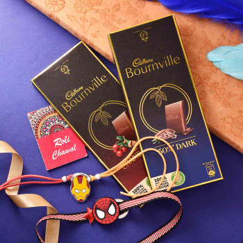 Batman Kids Set Of 2 Rakhis With Bournville  - For India