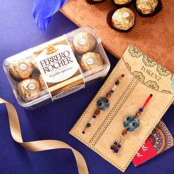 Peacock Set Of 2 Rakhis With Ferrero Rocher - For India