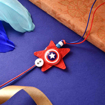 Captain America Rakhi With Bounty Chocolates- For India