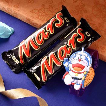 Fancy Doraemon Rakhi With Mars Choclate - For India