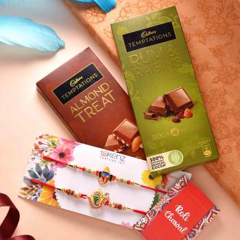 Set of Two Colorful Ganesha Rakhis With Cadbury Temptations - For India