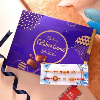 Beautiful Om & Beads Set of Two Rakhis With Cadbury Celebration Box - For India