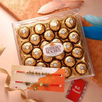 Devine Om & Ganesha Set of Two Rakhis With Ferrero Rocher - For India