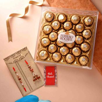 Bhaiya Bhabhi Set of Two Rakhis With Ferrero Rocher - For India