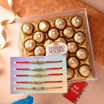 Set of Five Rakhis With Ferrero Rocher - For India