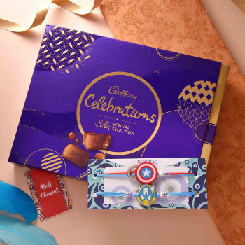 Captain America & Avengers Set of Two Rakhis With Cadbury Celebration Box - For India