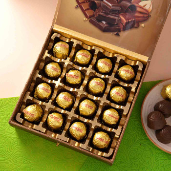 Set Of 2 Rudraksh Rakhis With Assorted Chocolates- For India