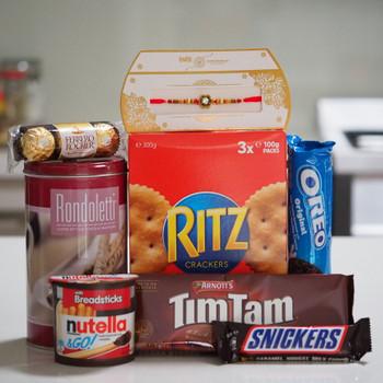 1 Rakhi with Sweets & Savoury Hamper - For Australia