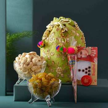 Traditional Karwachauth Embroidered Potli-Shringar Goodies & Dryfruits Hamper