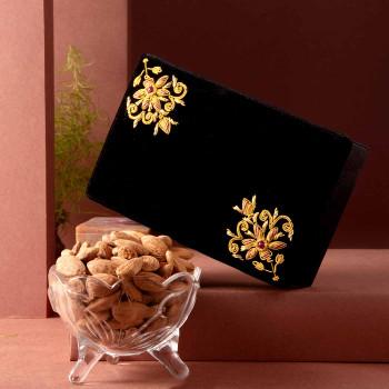 Hand Embroidered Zari Jewellery Box  & Premium Almonds Duo