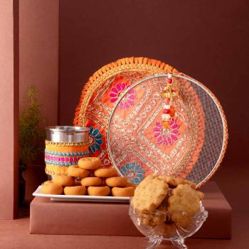 Karwachauth Thali Set, Kesar Peda & Mathri Hamper