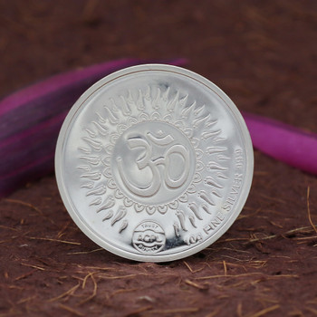 999 Silver Coin - Round Laxmi & Ganesha