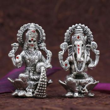 999 Silver Ganesha Statue 12 gm & Silver Laxmi Statue 12 gm