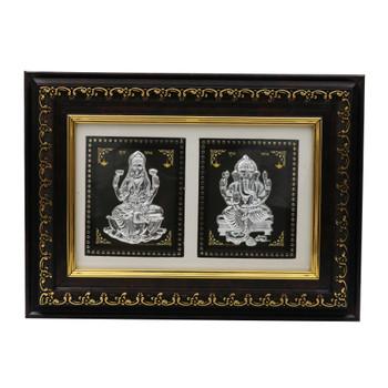 Beautiful 999 Silver Laxmi & Ganesha Frame