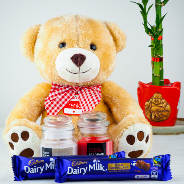Soft Teddy Bear, Candles with Dairy Milk Chocolates - FOR AUSTRALIA
