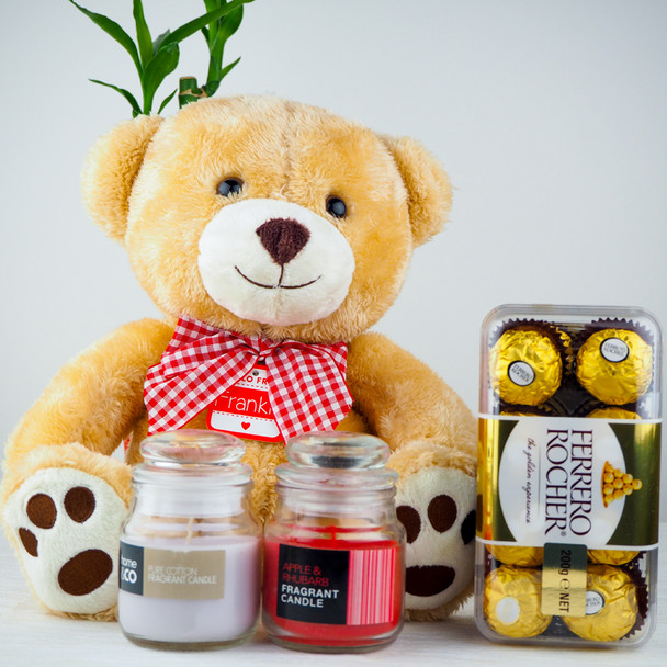 Soft Teddy bear and Candles with Ferrero Rocher - FOR AUSTRALIA