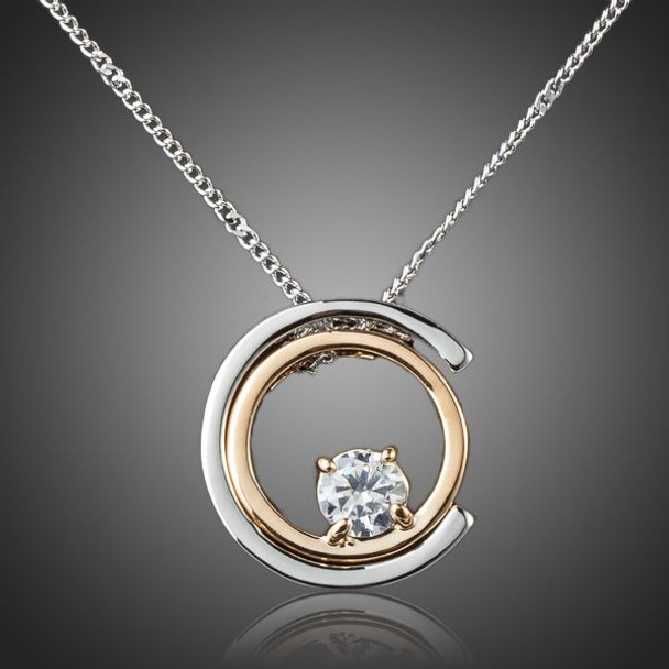 Classic Platinum Plated White Stellux Austrian Crystal Pendant Necklace