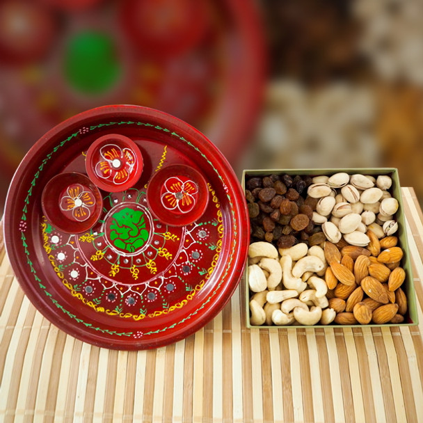 Painted Pooja Thali with Mix Dry Fruits - FOR AUSTRALIA