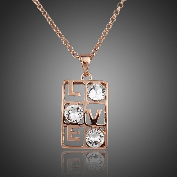 Love Design Rose Gold Color Three Clear Stellux Austrian Crystal Pendant Necklace