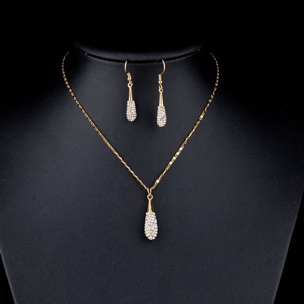 Gold Color Stellux Austrian Crystal Water Drop Drop Earring and Pendant Necklace Set