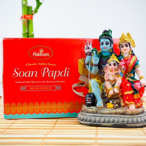 Shiv Parvati Statue 3.5inch with Soan Papdi - FOR AUSTRALIA