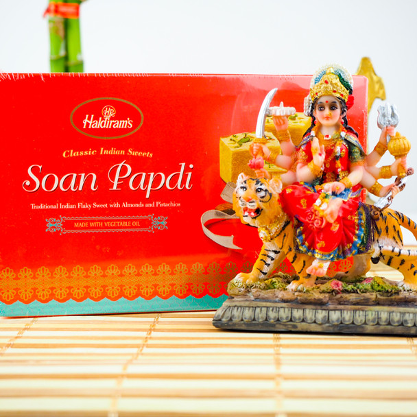 Maa Durga Statue 3.5inch with Soan Papdi- FOR AUSTRALIA