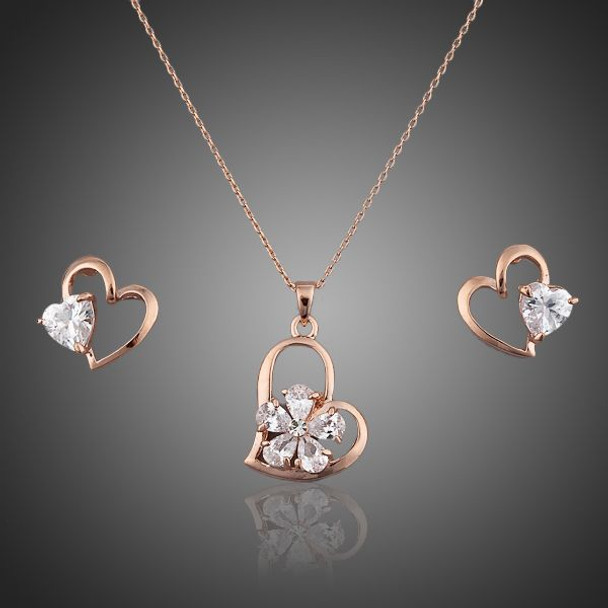 Crystal Heart Stud Earrings and Necklace Jewelry Sets - For Australia