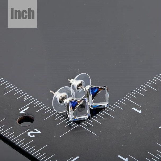 Platinum Plated SWA ELEMENTS Austrian Crystal Blue Cube Stud Earring
