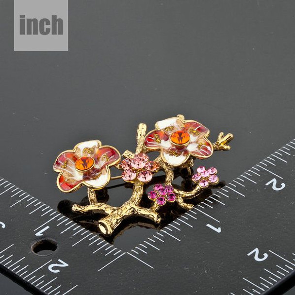 18K Gold Plated SWA ELEMENTS Mutilcolour Austrian Crystal The Plum Blossom Branches Design Brooch