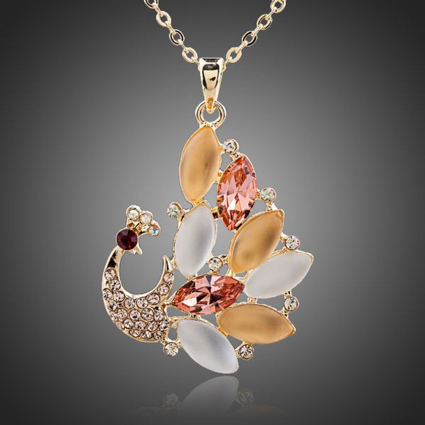Beautiful Peacock 18K Gold Plated SWA Element Austrian Crystal Pendant Necklace