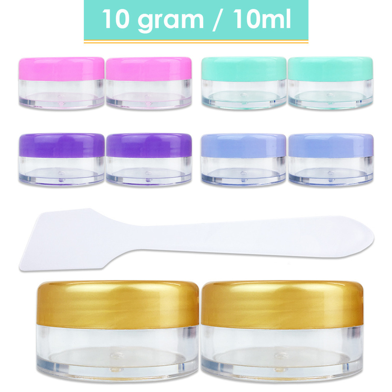 10G/10ML Plastic Clear Cosmetic Sample Jars (With Spatulas)