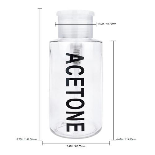 10 Oz Acetone Labeled Clear Plastic Pump Dispenser Bottle
