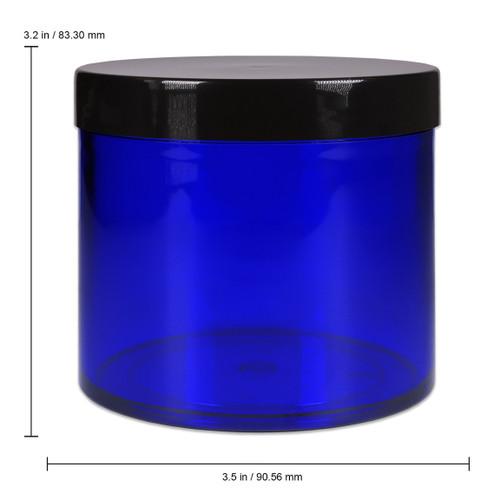 10 oz /  300g / 300ml High Quality Acrylic Light Sensitive Container Jars – Cobalt Blue with Black Lids