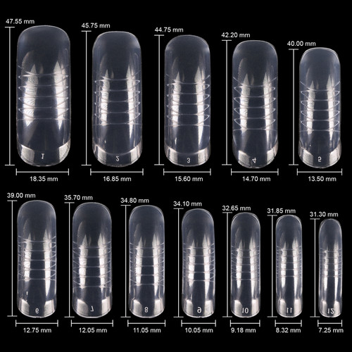 Plastic Nail Form Set Box - Frosted Form Box with Clear False Nail Tips