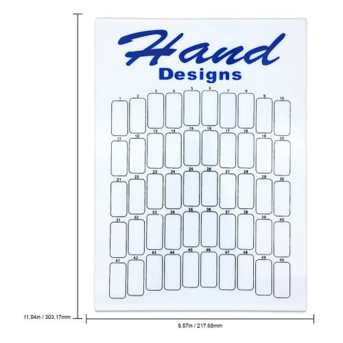 "50 Slot Blue/White ""Hand Designs"" Nail Art Design Display Board"