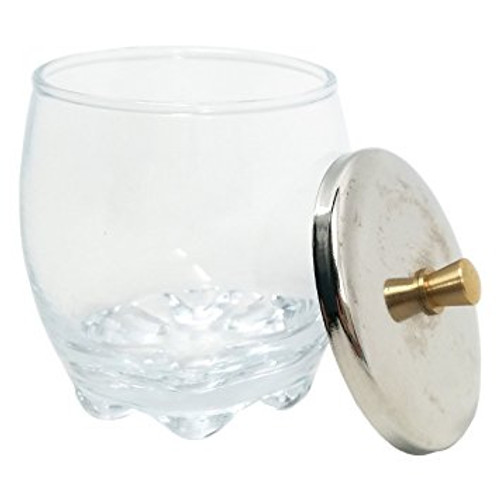 Crystal Glass Dappen Dish with Stainless Steel Lid
