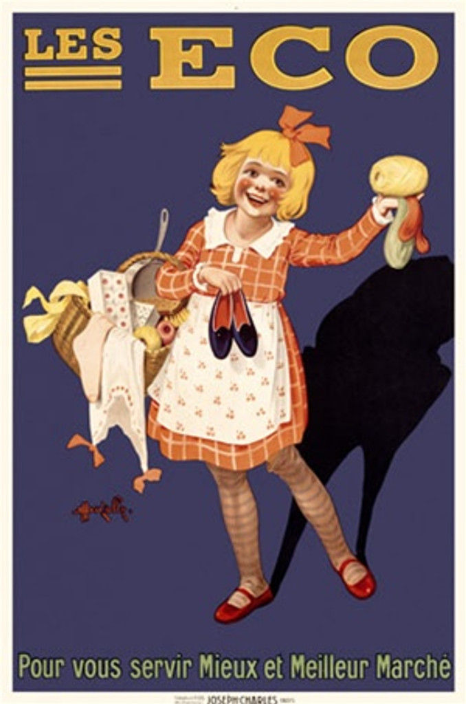 Les Eco poster by Marcellin Auzolle - Vintage Poster Reproduction. This vertical French product poster features a kid with a basket of clothing, a pot, and more while holding a pair of shoes. Giclee Advertising Prints. Classic Posters