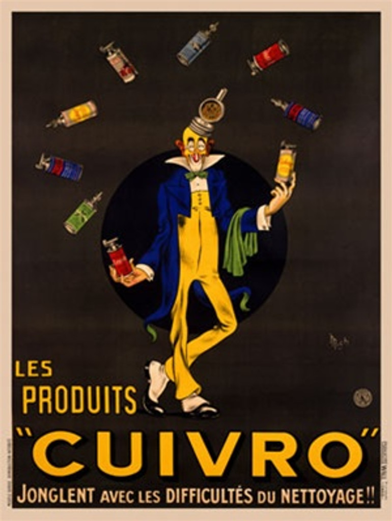 Cuivro by Mich 1920 France - Beautiful Vintage Poster Reproductions. This vertical French product poster features a clown in a blue jacket and yellow pants juggling colorful cleaning product bottles. Giclee Advertising Print. Classic Posters