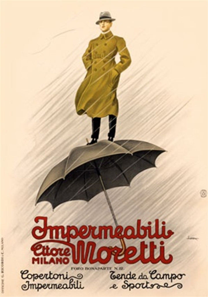 Moretti by Metlicovitz 1920 Italy - Beautiful Vintage Poster Reproductions. This vertical Italian product poster features a man in a hat and raincoat standing on a large umbrella in the driving rain storm. Giclee Advertising Print. Classic Posters