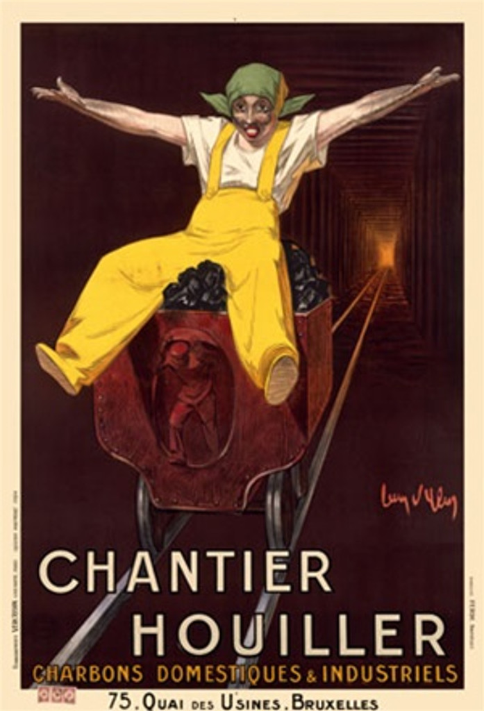 Chantier Houiller by Dylen 1924 France - Vintage Poster Reproductions. This French product poster features a miner in yellow overalls with his arms outstretched riding on a cart of coal through a mine shaft. Giclee Advertising Print. Classic Poster