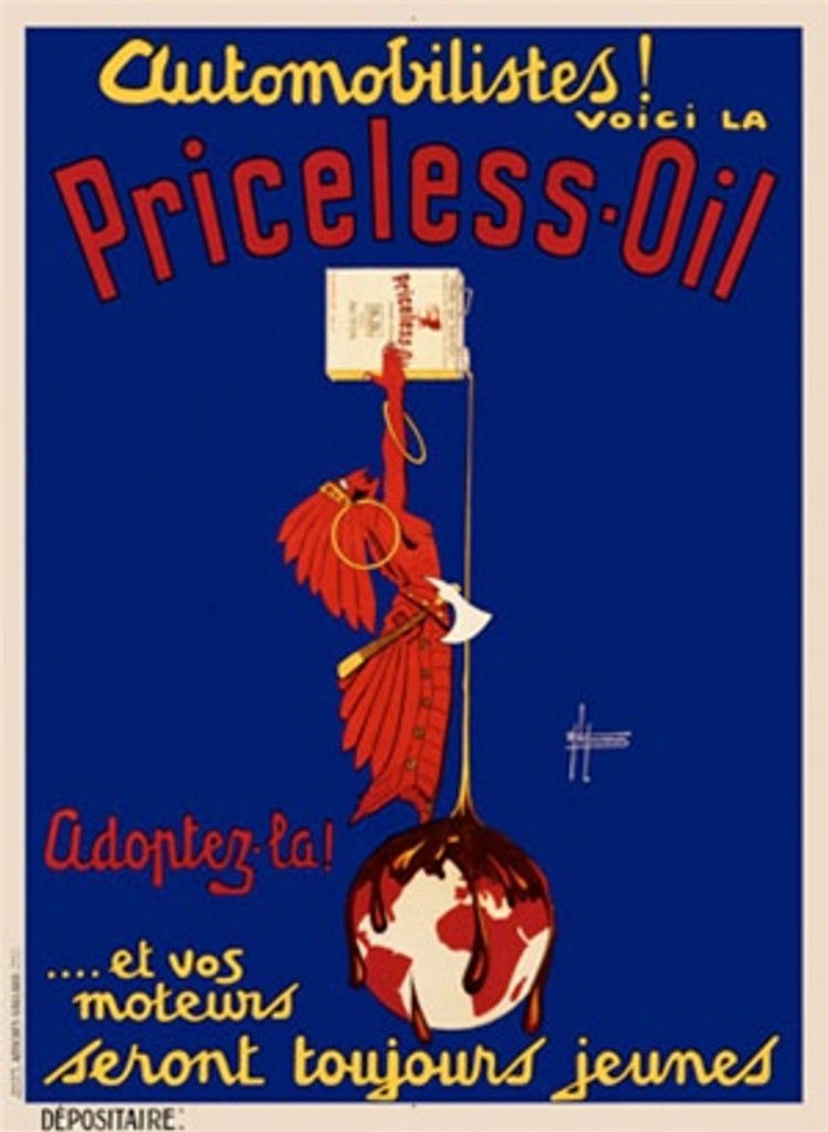 Priceless Oil by Laurencin 1922 France - Beautiful Vintage Poster Reproductions. This vertical French product poster features a native american standing on globe holding up a can of oil pouring it onto the earth. Giclee Advertising Print. Classic Posters