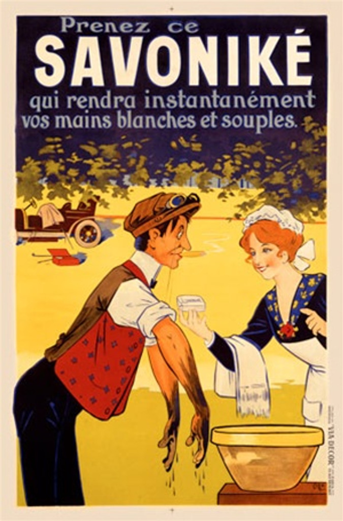 Savonike by Oge 1911 France - Beautiful Vintage Poster Reproductions. This vertical French product poster features a man who's hands and arms are dirty and a woman offering him a bar of soap at a wash basin. Giclee Advertising Print. Classic Posters