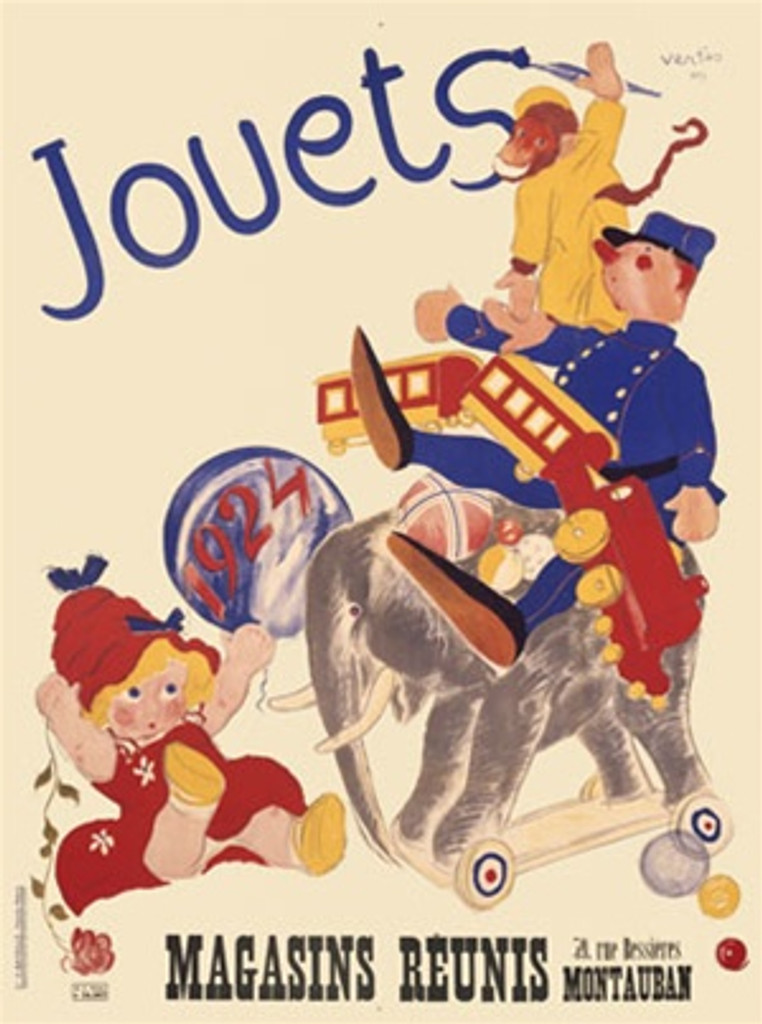 Jouets 1900 France - Beautiful Vintage Poster Reproductions. This vertical French product poster features a group of kid's toys including a baby doll, elephant on wheels, a train, monkey, etc. Giclee Advertising Print. Classic Posters